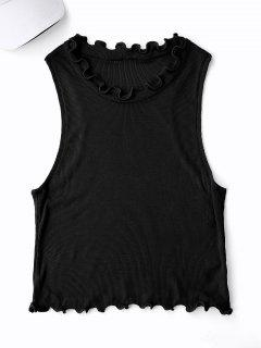 Cropped Ruff Collar Sporty Top - Black