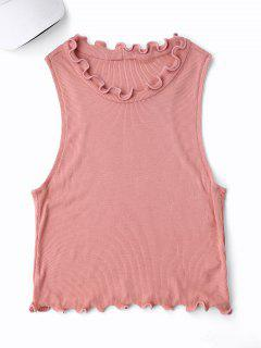 Cropped Ruff Collar Sporty Top - Pink