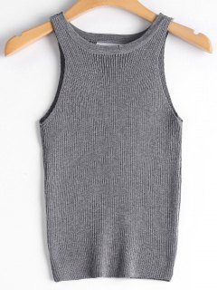 Lace-up Ribbed Knitted Tank Top - Gray