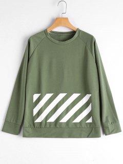 Raglan Sleeve Graphic Sweatshirt - Green S