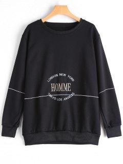 Letter Embroidered Sweatshirt - Black Xl