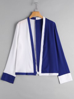 Two Tone Chiffon Top - Blue And White Xl