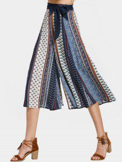 Printed Bohemian Belted Wide Leg Pants - Multi S