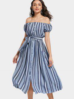 Off Shoulder Puff Sleeve Striped Belted Dress - Stripe M