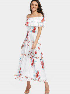 Off Shoulder Tiered Flounce Floral Maxi Dress - White M