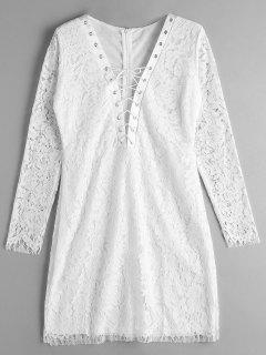 Lace-up Lace Dress - White Xl