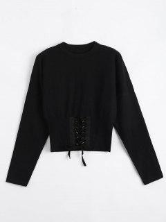 Crop Knitted Lace Up Sweater - Black