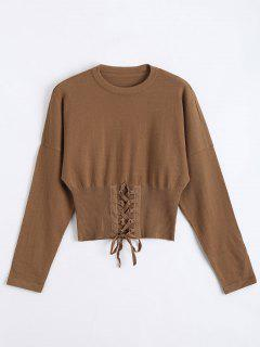 Crop Knitted Lace Up Sweater - Coffee