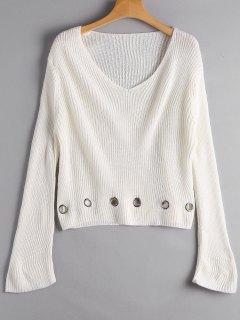Sweater Col Décolleté Avec Anneaux Décoratifs - Blanc Cassé