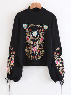 Mock Neck Flare Sleeve Floral Embroidered Sweater - Black L