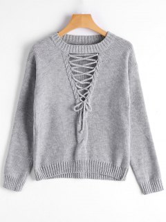 Crew Neck Lace-up Sweater - Gray