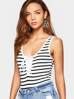 Lace Up Open Back Striped Bodysuit - Stripe L
