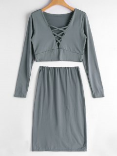 Crisscross Crop Top And Bodycon Skirt Set - Gray S