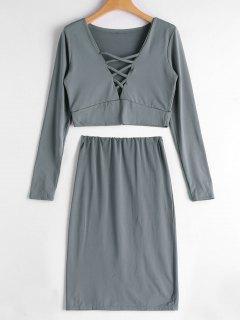 Crisscross Crop Top And Bodycon Skirt Set - Gray Xl