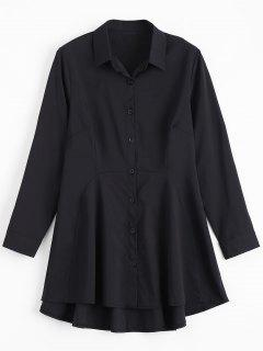 Button Up Long Sleeve Plain Shirt Dress - Black Xl