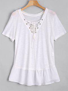 Ruffles Lace Up Casual Top - White M