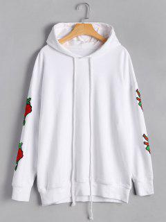 Casual Floral Applique Pullover Hoodie - White M