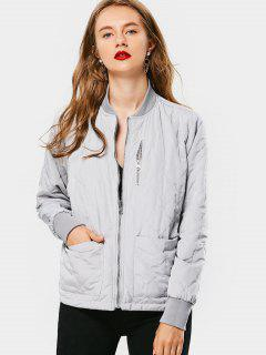 Zip Up Padded Jacket With Pockets - Gray M