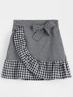 Belted Bowknot Ruffle Hem Checked Skirt - Black L
