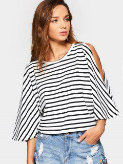 Cold Shoulder Cut Out Striped Tee - Stripe L