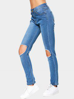 Cut Out High Waist Jeans - Blue M