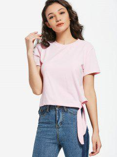 Short Sleeve Tie Side T-shirt - Light Pink Xl