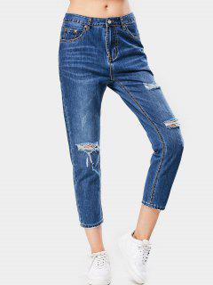 Ninth Bleach Wash Distressed Tapered Jeans - Denim Blue L