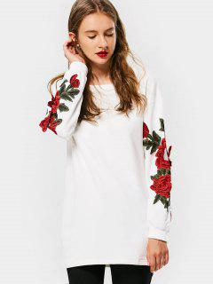 Long Floral Embroidered Patched Sweatshirt - White L