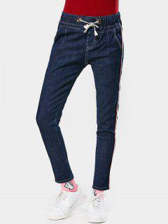 Drawstring Ribbons Trim Pencil Jeans - Denim Blue L