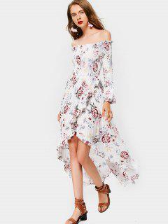 Floral Smocked Off Shoulder Asymmetrical Dress - White M