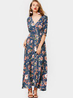Front Slit Floral Button Up Maxi Dress - Blue M