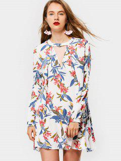 Long Sleeve Floral Keyhole Flowy Dress - White S