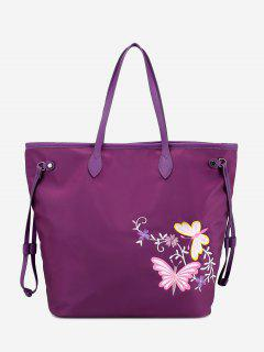 Floral Embroidery Drawstring Shoulder Bag - Purple