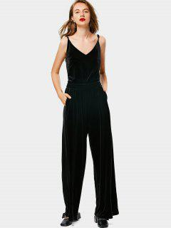 Cut Out Velvet Wide Leg Jumpsuit - Black M