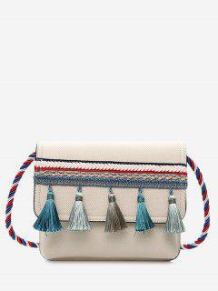 Tassel Color Blocking Strap Crossbody Bag - Off-white