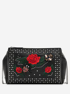 Insect Flower Embellished Rhinestone Crossbody Bag - Black