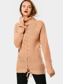 Lace Up Turtleneck Sweater - Card Apricot