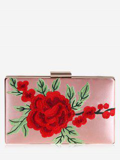 Floral Embroidery Clutch Bag - Pink