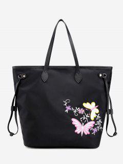 Floral Embroidery Drawstring Shoulder Bag - Black