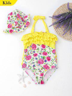 Floral Halter Tiered Kids Swimwear - Floral 6t