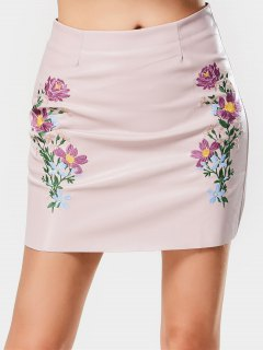 Faux Leather Floral Embroidered A Line Skirt - Pink L