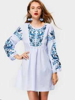 Tassel Embroidered Stripes Long Sleeve Dress - Stripe S