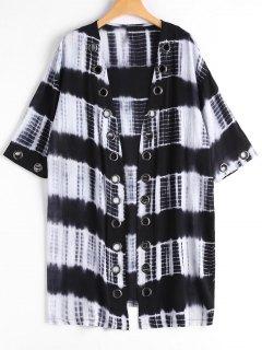 Studded Tie Dye Kimono - Black Xl