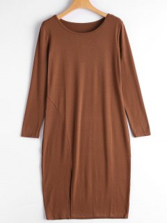 Slit Long Sleeve Dress - Brown L