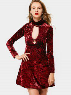 Crushed Velvet Cut Out Long Sleeve Dress - Wine Red S