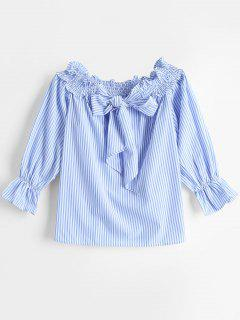 Off The Shoulder Bowknot Striped Blouse - Blue S