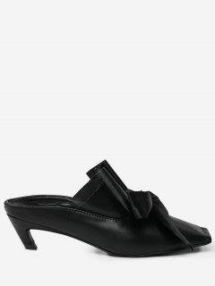 Square Toe Bow Mid Heel Slippers - Black 38
