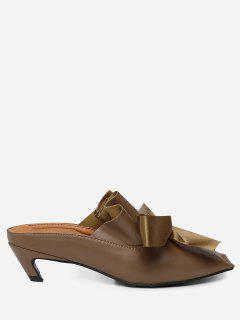 Square Toe Bow Mid Heel Slippers - Brown 38