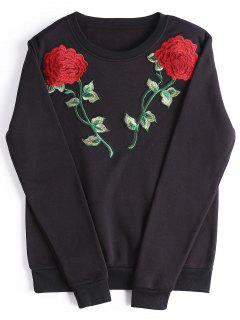 Casual Rose Embroidered Patches Sweatshirt - Black Xl