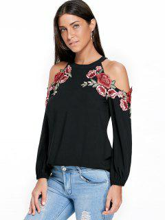 Embroidery Applique Cold Shoulder Top - Black 2xl